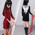 Spring Autumn Winter All-match Girls Stripe Shirt Collar Buckle Hot Super Elastic Backing Dress Clothing Black Red Lace
