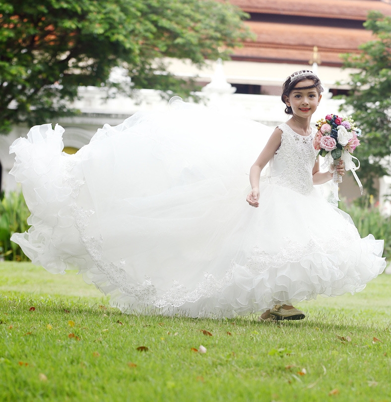 White   Flower     Girl     Dresses   High Low Scoop Appliques Long Train Ball Gown Kids Wedding Party   Dresses     Girls   First Communion   Dresses