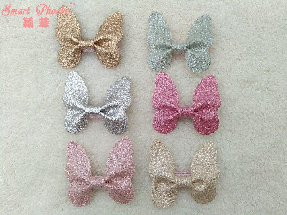 Wholesale 30pcs 6C Fashion Cute Leather Butterfly Girls Hairpins Solid Kawaii PU Hair Bow Girls Hair