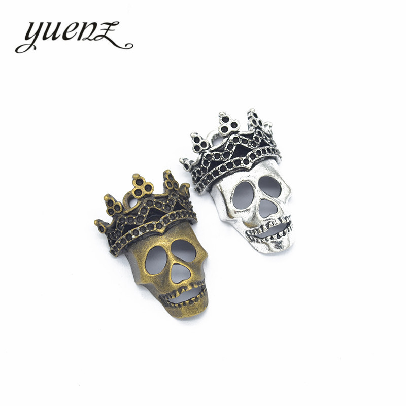 YuenZ 2pcs 2 Colour Antique Silver Plated Crown Skull Charms Metal Pendants For Jewelry Making DIY Handmade Craft 35*25mm F15