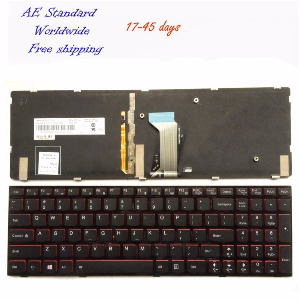 US Laptop Keyboard For Lenovo Y500 Y500N Y510P Y500NT Backlight Black New English free shipping brand new us version for lenovo thinkpad x60 x60s x61 x61s laptop keyboard keypad