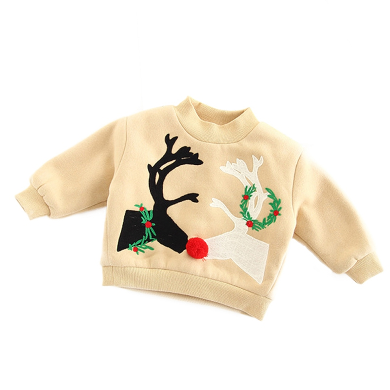 2017 New Baby Christmas Towel Embroidered Velvet Fashion Sweatshirt For Girls Boy Christmas Tree Santa Claus Hoodies Sweatshirts