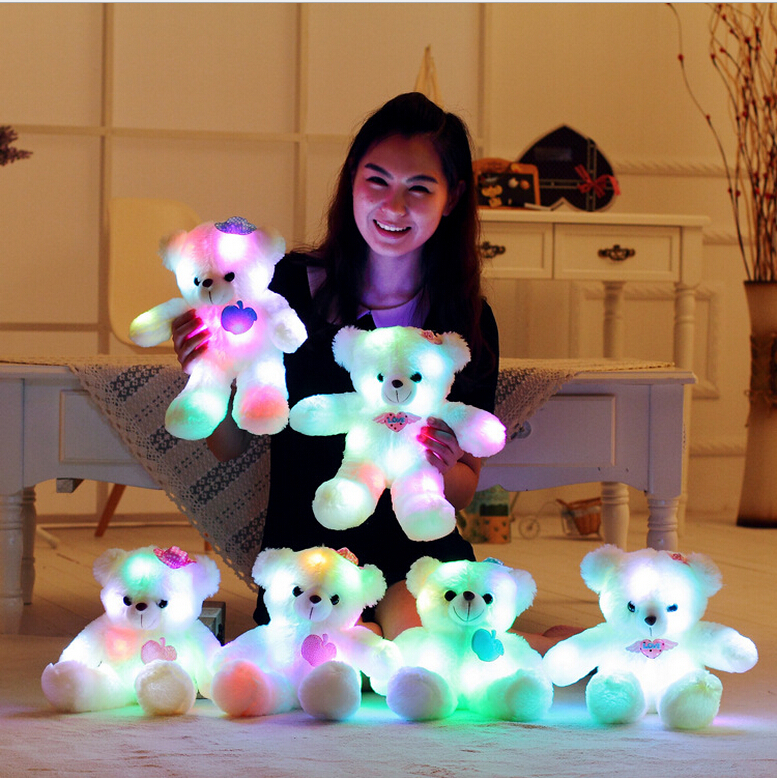 Hot Sale 38cm Colorful Glowing Teddy Bear Luminous Plush Toy Staffed Lovely Toy for Kids Girls Gift Kawaii Doll