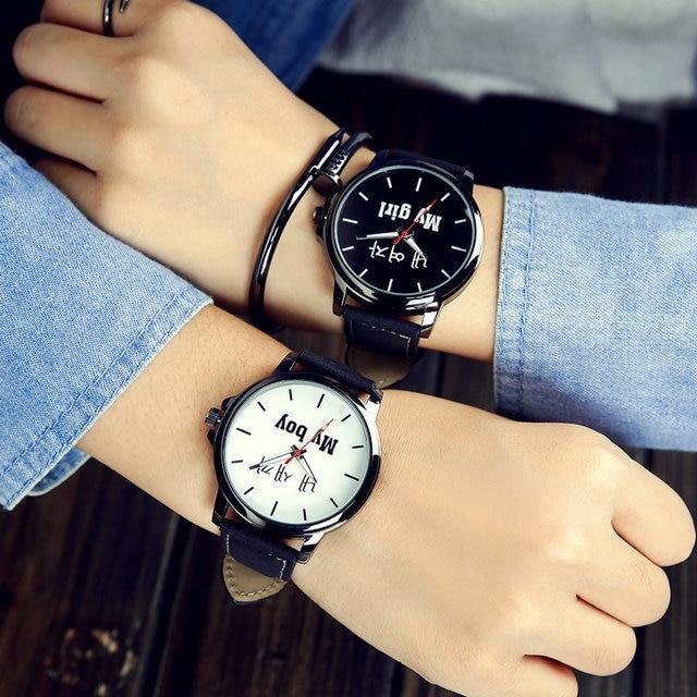 Moda Casual hombres mujeres pareja relojes de cuarzo palabras únicas hombre mujer  reloj señoras ocio reloj c13511f4417f