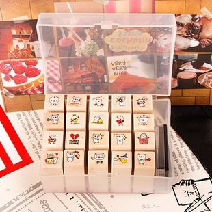 20pcs/set Lovely Stamp Rubber Cute Pig DIY Writing Scrapbooking Stamp Gift with Wooden Box for Diary Scrapbook Craft