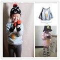 Ins 2016 дети зима толстовка ребенка плюс бархатные толстые топ 100% хлопок футболка девочка одежда kikikids корейские дети освещения