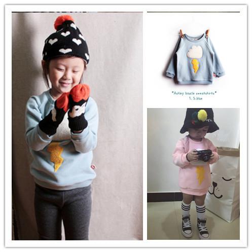 Ins 2016 niños de invierno con capucha bebé, además de terciopelo grueso superior 100% algodón camiseta ropa de bebé niña kikikids coreano niños de iluminación