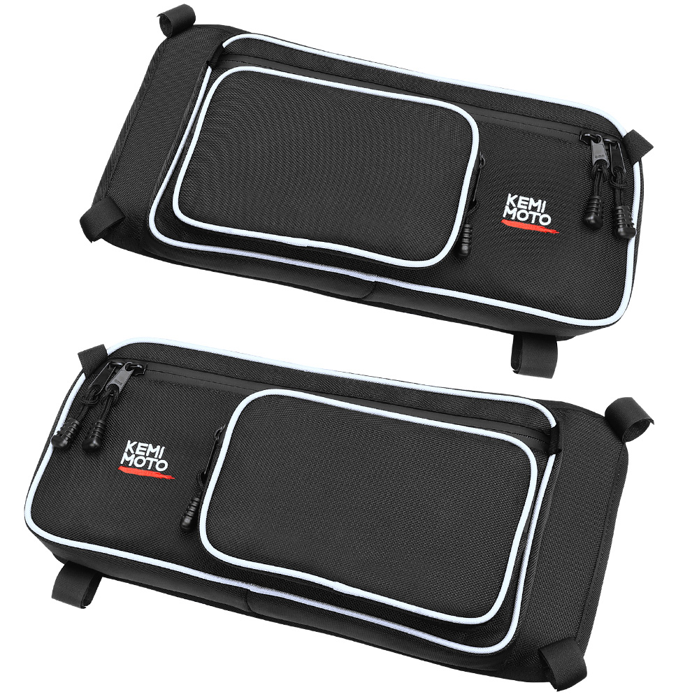 KEMIMOTO Black Rear Stock Door Bag Pair With Knee Pad For Can-Am Maverick X3 Models All YearKEMIMOTO Black Rear Stock Door Bag Pair With Knee Pad For Can-Am Maverick X3 Models All Year