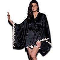 Bắt chước Silk Sexy Phụ Nữ Robes với Ren và Batwing Sleeves Thời Trang Quần Áo Ngủ Áo Choàng đối với Cái