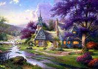 Oil Painting Quality14CT Unprinted Cross Stitch Kits Needlework Scenery Forest hut purple For Embroidery