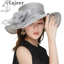 Sombrero de iglesia de mujer elegante Kajeer para verano de lana gris Flor  de Organza visera de sol sombrero de ala grande Chape. 15b801a98ea1