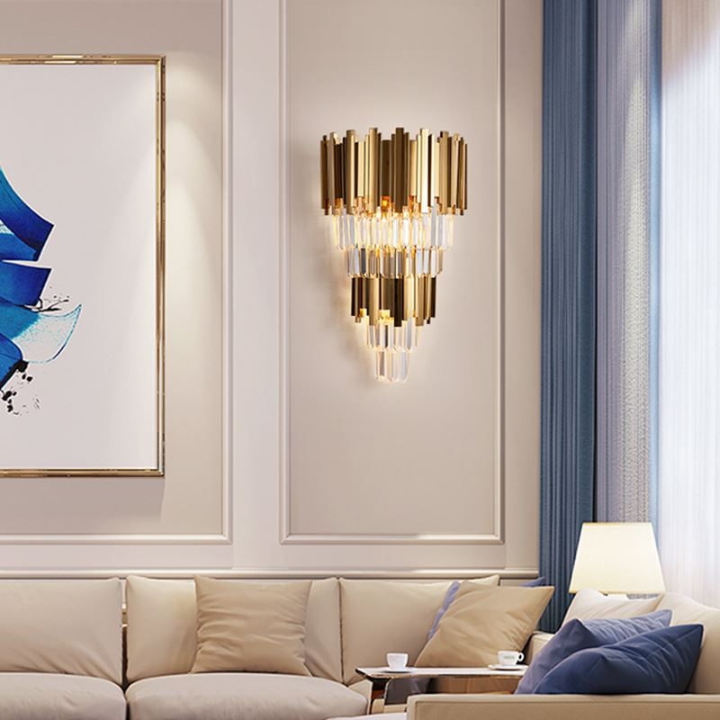 Gold Modern Wall Sconces Lighting AC110-240V Two Level Crystal Wall Lamp Bedside Living Room 1