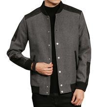 Autumn winter casual jacket for men coat woolen stitching male fashion patchwork Baseball collar jackets Plus Size M- 5XL