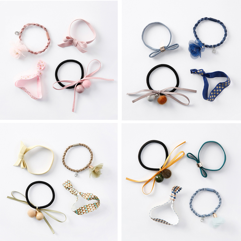 M MISM 4PCS/Set Girls Flower Elastic Hair Rubber Bands Bowknot Beads Yarn Ponytail Holders Braid Sweet Hair Gum Rope Accessories