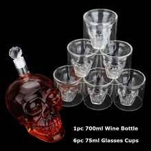 Crystal Skull Head Glass Cup Double Wall Glass Whisky Vodka Coffee Tea Cups Shot Glasses Set Bottle Bar Party Drinkware Tools недорого