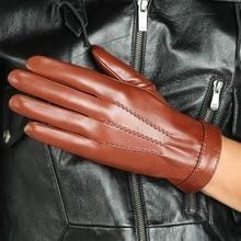 Hot Sale Men Genuine Leather Gloves Top Quality Touchscreen Goatskin Winter Plus Velvet M037NC2
