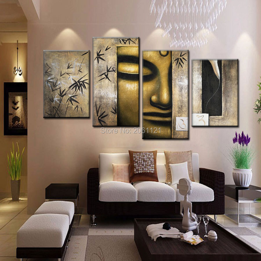 Handmade cheap Large Modern Abstract bronze Buddha Painting Canvas Oil Wall Art buda Portrait Home Decoration 4 Pcs Set Picture