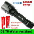 LED Hunting Flashlight Torch T6 Led Torch C8 5Mode Cree light lantern Waterproof High Power with Rechargeable 2*18650 Battery