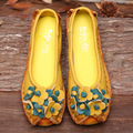 Flower Vintage Shoes Woman Genuine Leather Women Flats Comfortable Moccasins Loafers Driving Shoes Women 35-40