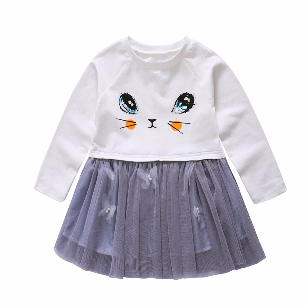 Autumn Children Cat Printed White Party Baby Girls Dress Long-Sleeve White Tutu Dresses Children Clothes Lovely Vestidos uoipae party dress girls 2018 autumn