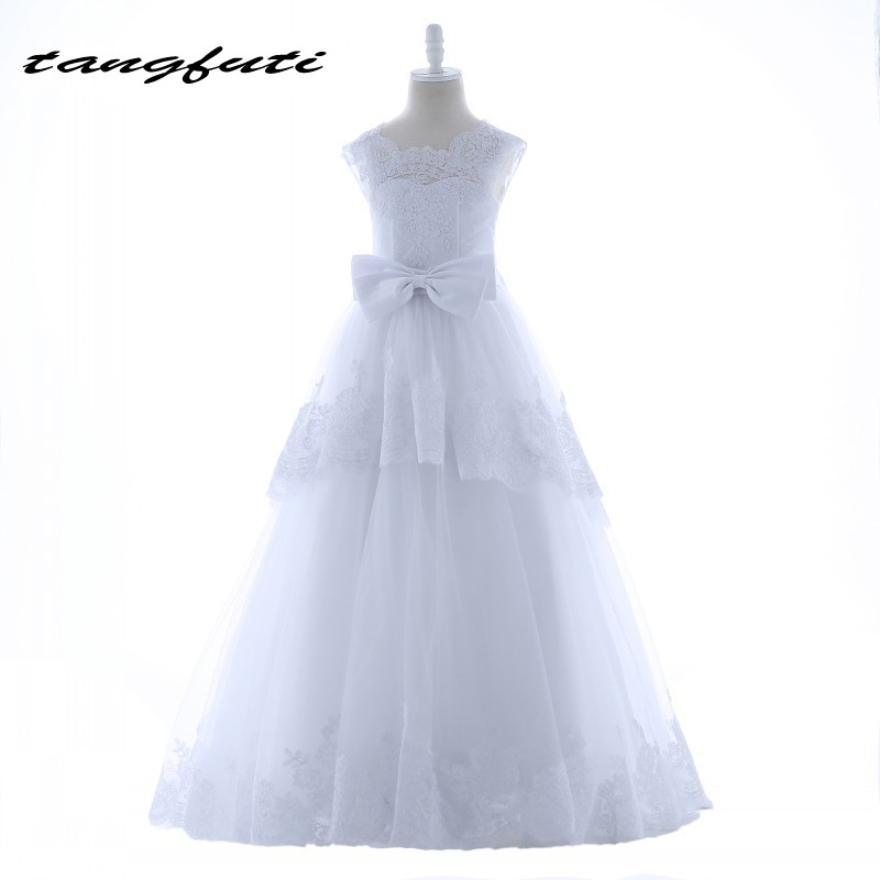 Lovely   Flower     Girl     Dresses   With Lace Appliques Bow Ball Gown Floor Length First Communion   Dress   For   Girls   2018 Kid   Flower   Gowns