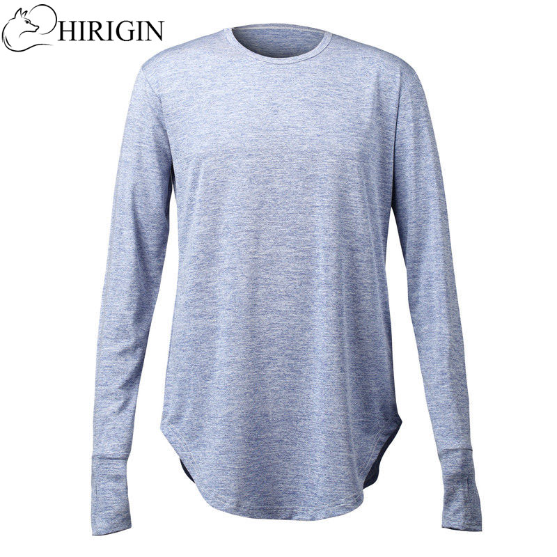 HIRIGIN 2017 Men s Slim Fit O Neck Long Sleeve Muscle Tee Hipster T shirt Casual