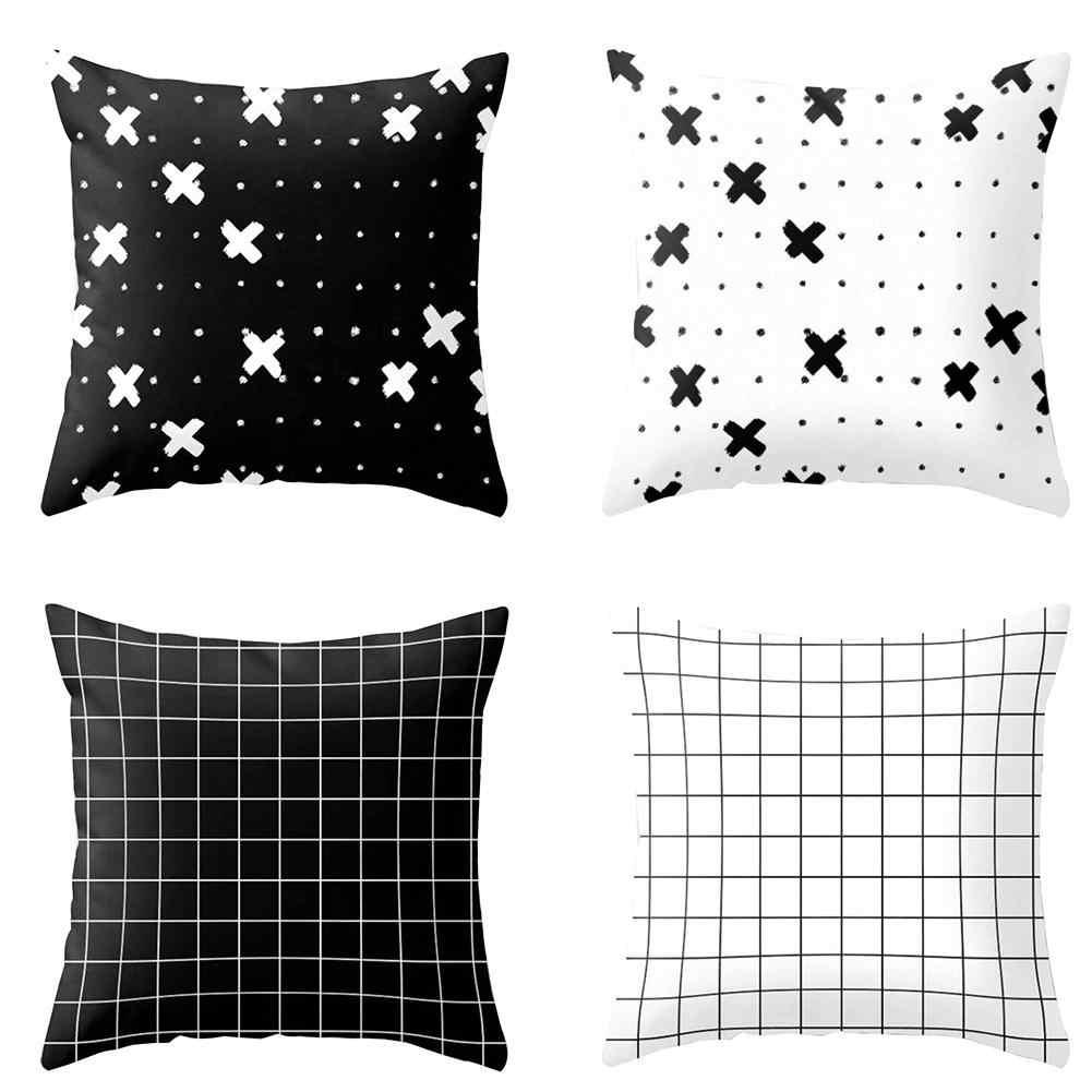 965d28317ad5f5 Современные Черный и белый геометрический принт Чехлы Диван Декор Наволочка