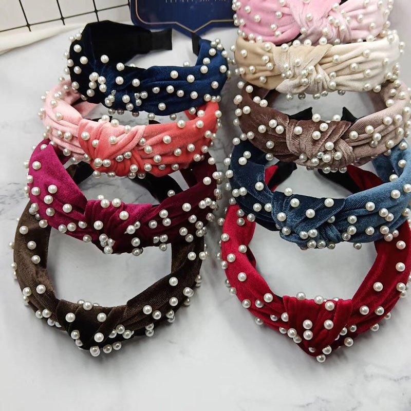 Bohemian Solid Color Soft Velvet Center Knot Wide Hairband With Pearl Knotted Hairband  Customized Hair Accessories