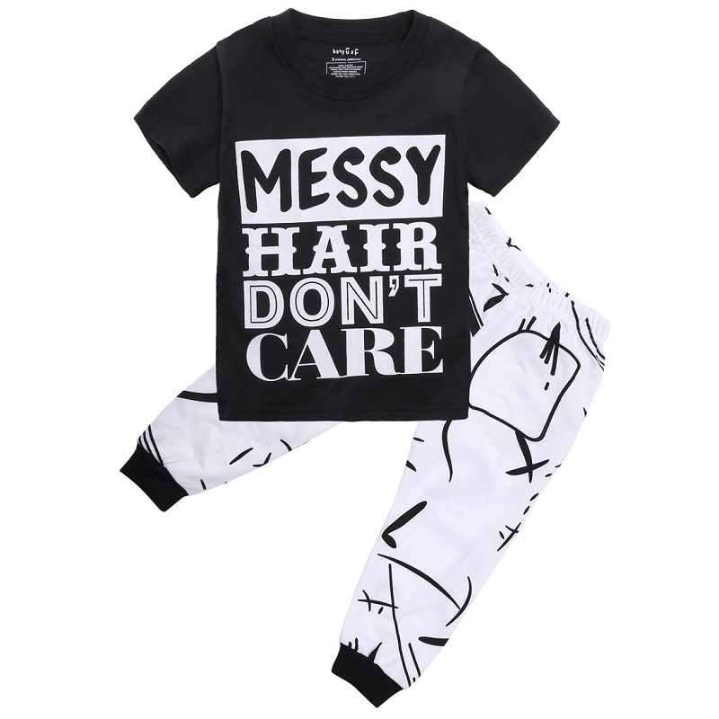 2017 Summer Casual Outfits For Newborn Toddler Kids Baby Boys Girls Black Print T-shirt Tops Pants Leggings Leisure Set