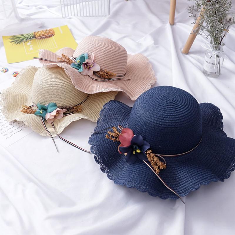 Childrens Straw Hat Summer Girl Beach Visor Hat Sun Hat Bridal Fashion Cap Blue