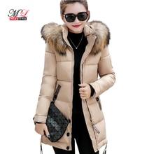 Fitaylor Новинка 2017 года бренд Для женщин зимние толстые куртки длинные хлопковые пальто Для женщин с капюшоном Теплый Повседневное пальто плюс Размеры парка куртка