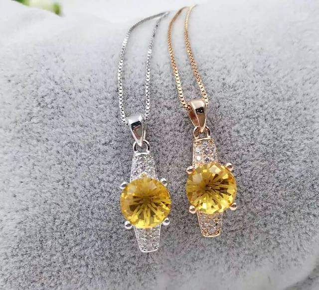 Natural citrine pendant s925 silver natural yellow crystal pendant natural citrine pendant s925 silver natural yellow crystal pendant necklace trendy elegant thick round women party aloadofball Gallery