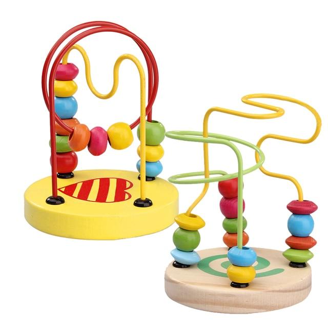 Деревянные Игрушки для Детей Дети Малышей Детские Математические Игрушки Красочные Мини Вокруг Бусины Провода Лабиринт Развивающие Игрушки