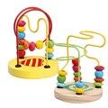 Juguetes de madera para Niños Niño de Los Cabritos Del Bebé Matemáticas Juguetes Colorido Mini Alrededor Beads Alambre Maze Juguete Educativo