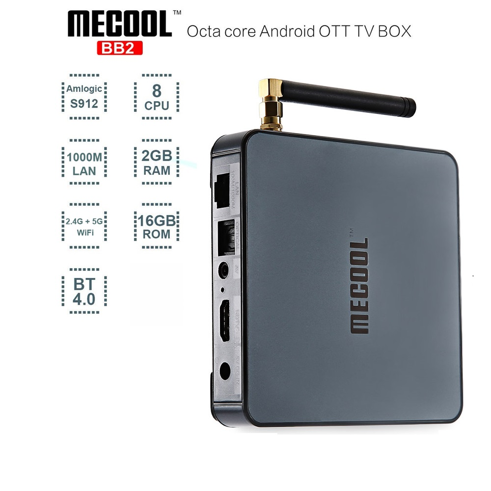 MECOOL BB2 2GB RAM 16GB ROM Android 6.0 Smart TV Box Amlogic S912 64 bit Octa Core Bluetooth 4.0 Media Player Set Top Box