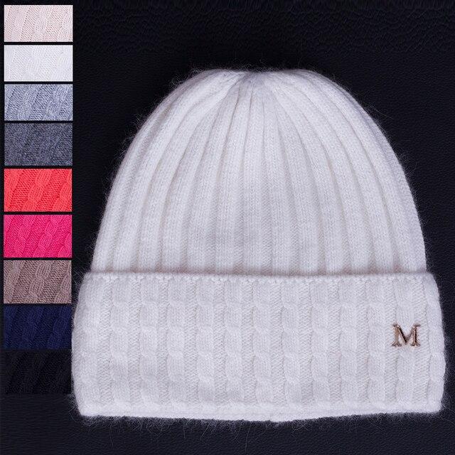 2017 M marca mujeres invierno gorros sombrero lana gruesa de punto ...
