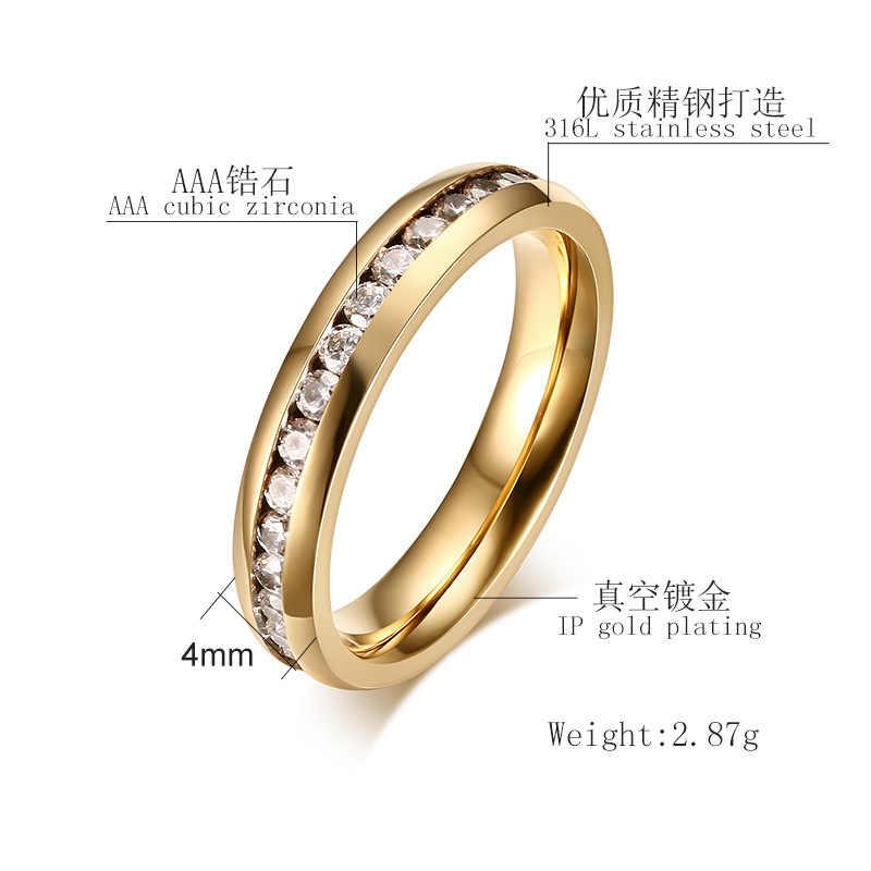 QianBei 4มิลลิเมตรสแตนเลสแหวนโรสเงินทองสีดำCZ Inlay Cubic Z Irconiaผู้หญิงผู้ชายแต่งงานค๊อกเทลจบการศึกษาคริสต์มาสของขวัญ