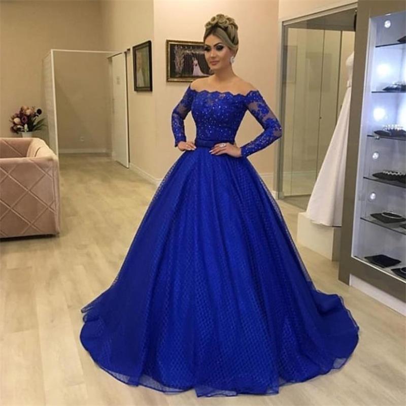 Robes de bal détachables avec jupe à épaules dénudées robes de soirée bleu royal appliques en dentelle manches longues robes de soirée