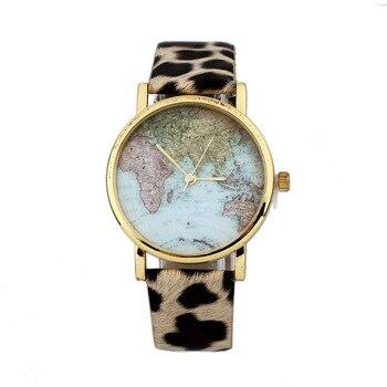 Quartz World Map Leopard Band Wristwatch