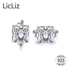 LicLiz 925 пробы серебряные маленькие серьги-кольца женские Геометрические Квадратные серьги ювелирные кольца кубический циркониевый солитер серьги LE0384