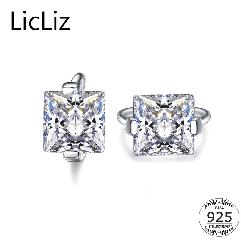 1eb3795cd2eb3f Detail Feedback Questions about LicLiz 925 Sterling Silver Small Hoop  Earrings Women Geometric Square Ear Hoops Jewelry Cubic Zirconia Solitaire  Earrings ...