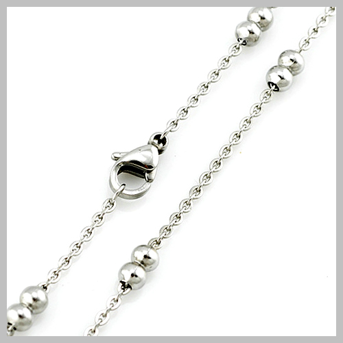 S.Steel Flat Cross Chains With Spaced Double Beads or Single Bead Lady Long Fashion Necklaces S024