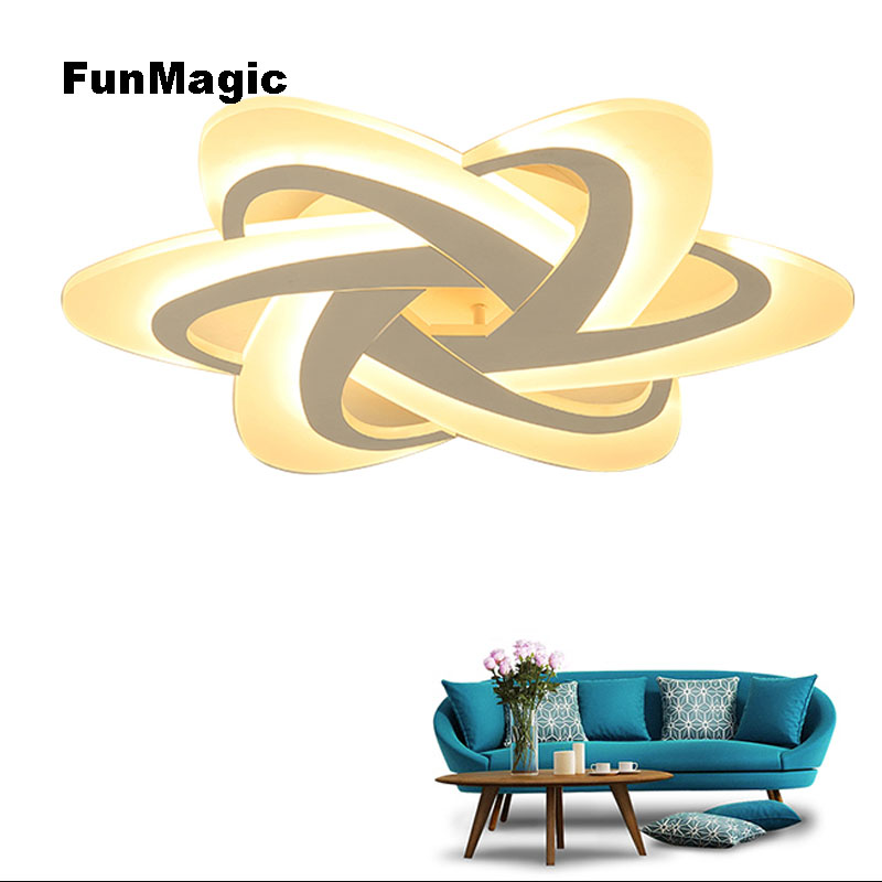Nordic Post-modern Romantic Flower LED Acrylic Ceiling Light PMMA Lampshade Dimming Bedroom Lighting Lamp Living Room Fixture
