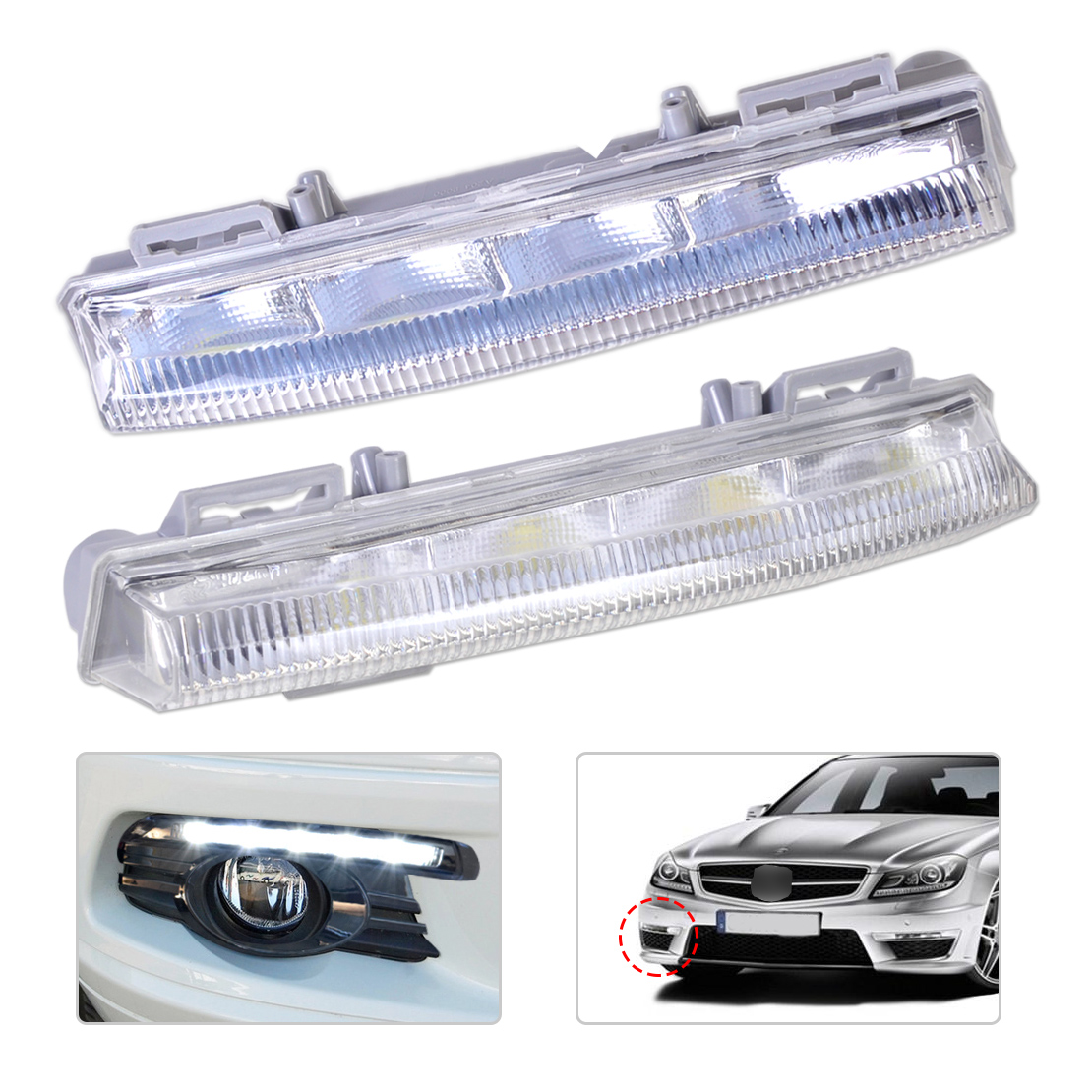 2049068900 204 906 90 00 Daytime Running Lamp Fog Light Left Side for Mercedes Benz  C E SLK Class W204 S204 W212 R172 2012 2013 july king 1pc left driver side fog light lamp case for mercedes benz r171 w164 w203 w204 w216 w230 w253 amg aftermarket
