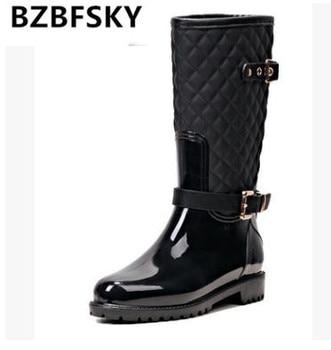 Rain boots lattice metal decoration superstar shoes buckle strap women boots waterproof non-slip botas large size 35-41
