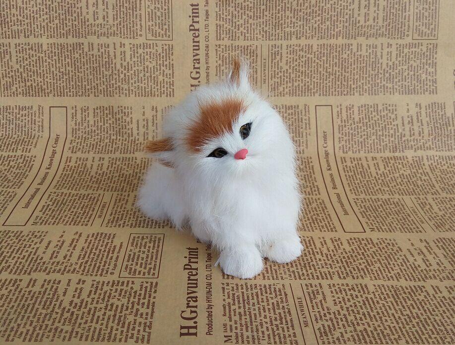 Simulation fur animal simulation big cat home furnishing articles Creative gifts for children cat model handicrafts
