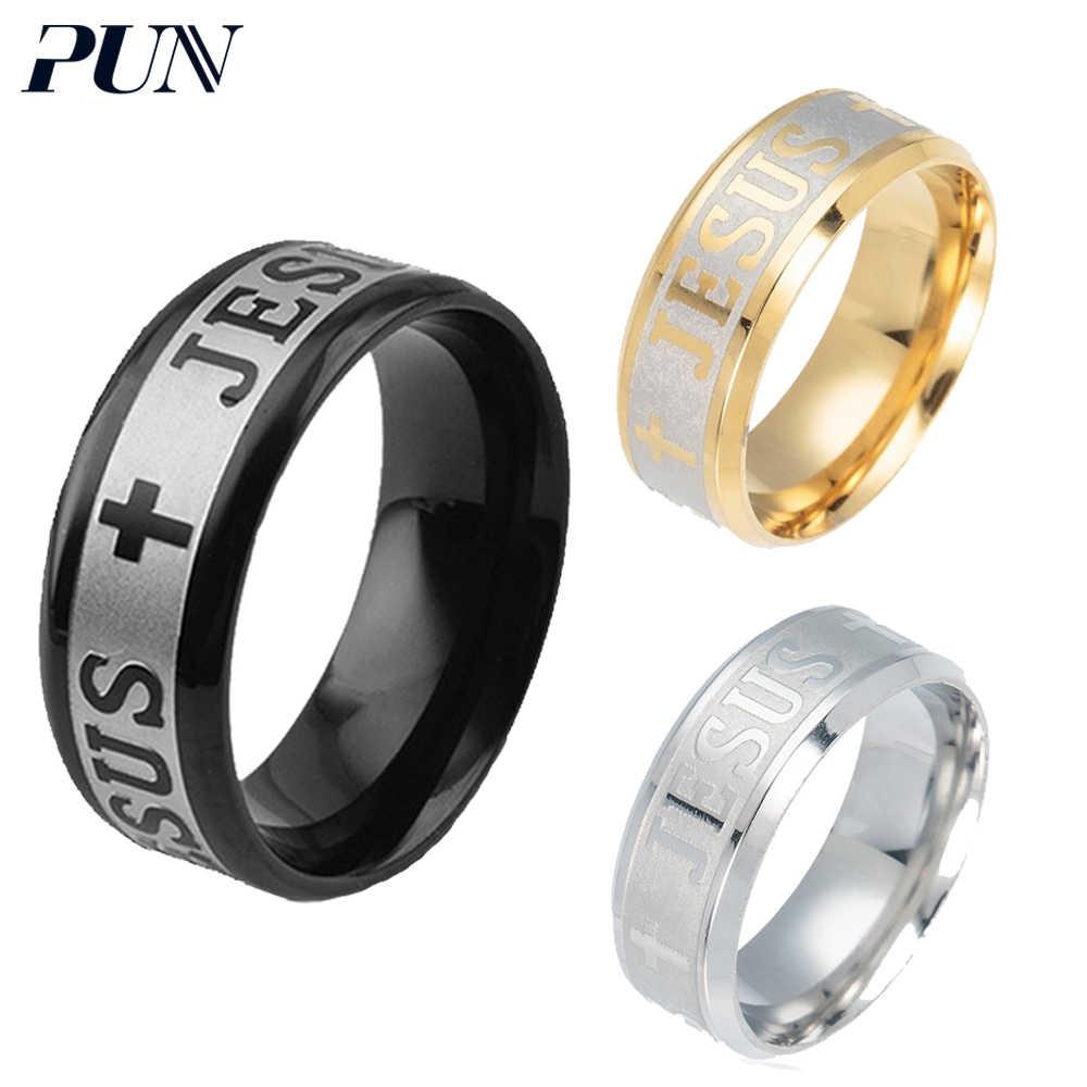 Juego de palabras Jesús anillo de dedo para los hombres las mujeres accesorios de bisutería punk anillos de hombre negro de plata de oro de acero inoxidable sello regalos de antigüedades