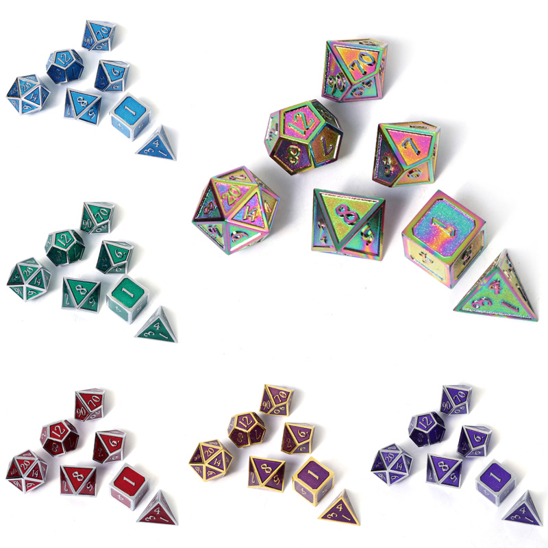 Chengshuo Dnd Dice Metal Rpg Set Polyhedral Dungeons And Dragon D20 8 Wholesale Blue Table Games Zinc Alloy Digital Dice Pattern