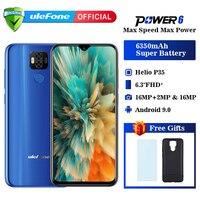 Ulefone power 6 Смартфон Android 9,0 Helio P35 Восьмиядерный 6350 мАч 6,3 4 Гб 64 Гб 16 МП распознавание лица NFC 4G LTE мобильные телефоны