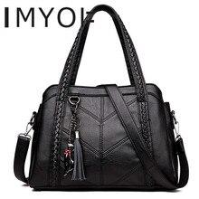 IMYOK Top-Handle Bags Women Tassel Tote Luxury Spiraea Ladies Shoulder Messenger